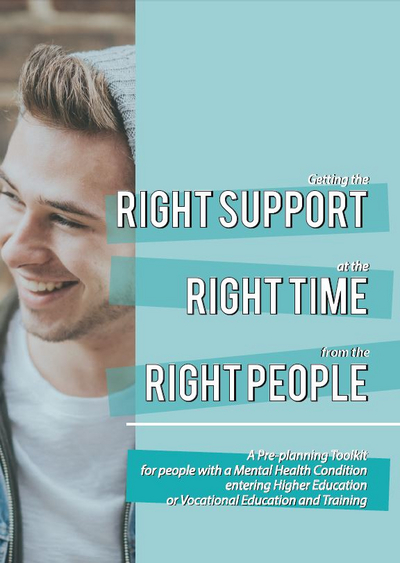 Young man smiling, right support, right time, right people written across aqua background