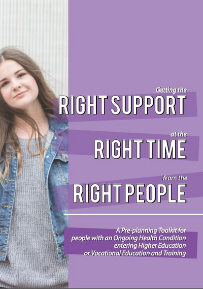 Young girl looking forward, Right support, right time, right people written across purple background
