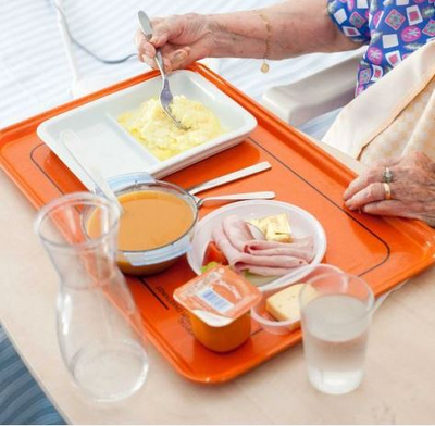 Tray with meals and drinks