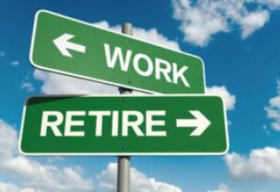 Signs in one direction point to retire the other direction point to work