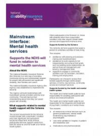 Supports the NDIS will fund in relation to mental health service